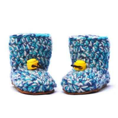 Baby Blues Wool Baby Booties 0 – 12 mths