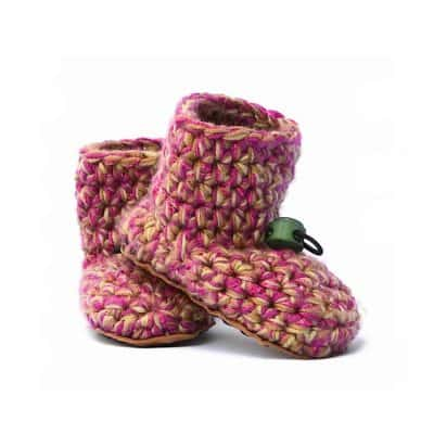 Camo Girl Wool Baby Booties 0 – 12 mths