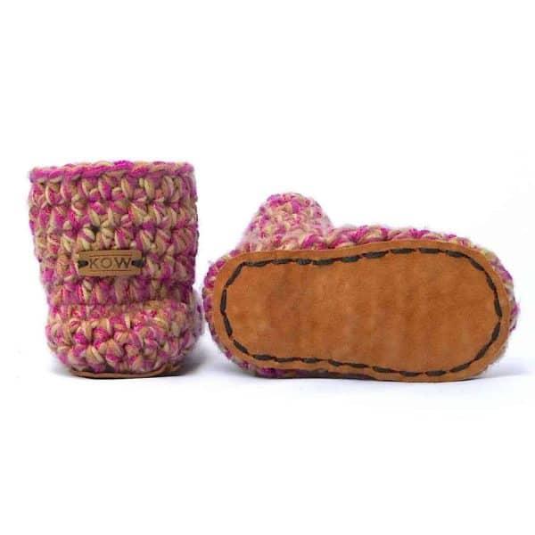 Camo Girl Pink Baby Wool Booties for Kids