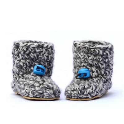 Husky Blue Wool Baby Booties 0 – 12 mths