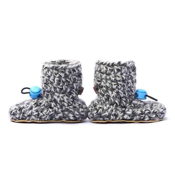 Husky Blue Grey Baby Wool Booties for Kids