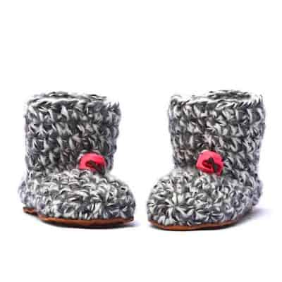 Husky Pink Wool Baby Booties 0 – 12 mths