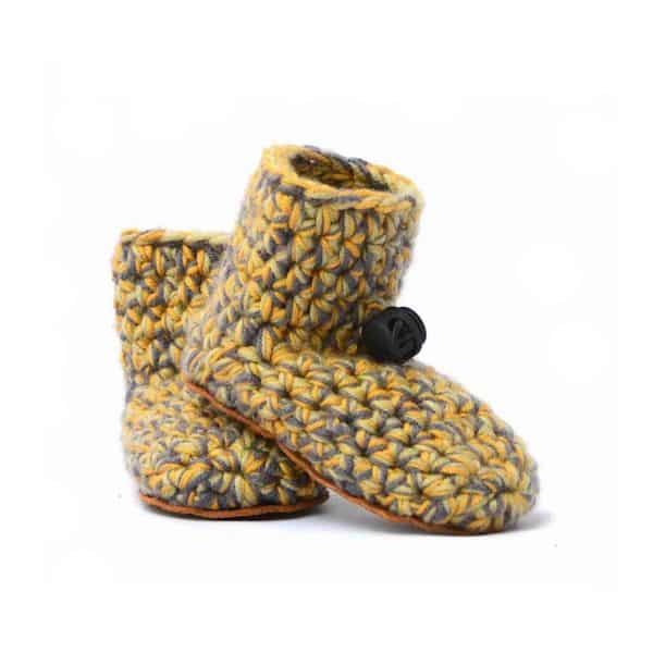 Sand Yellow Baby Wool Booties