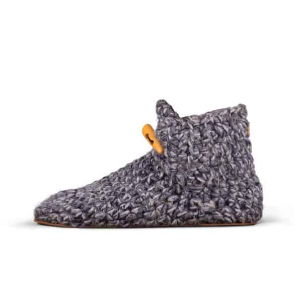 Stone Grey Wool Slippers for Women