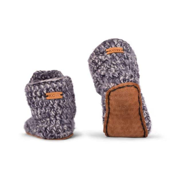 Storm Pink Grey Wool Slippers for Kids