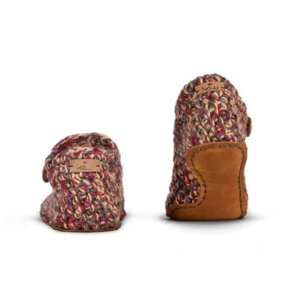 Indian Summer Red Wool Slippers for Women