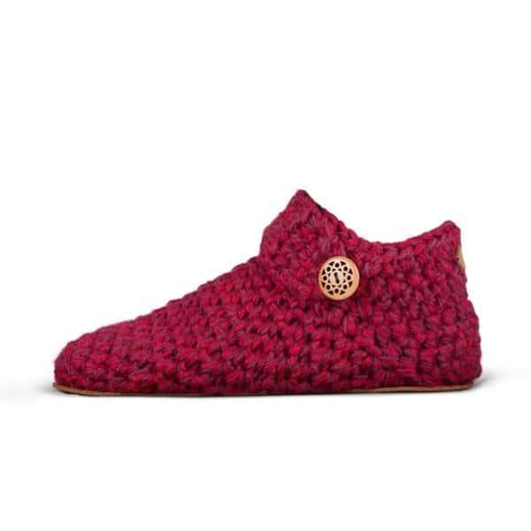 Wine Red Wool Slippers for Women