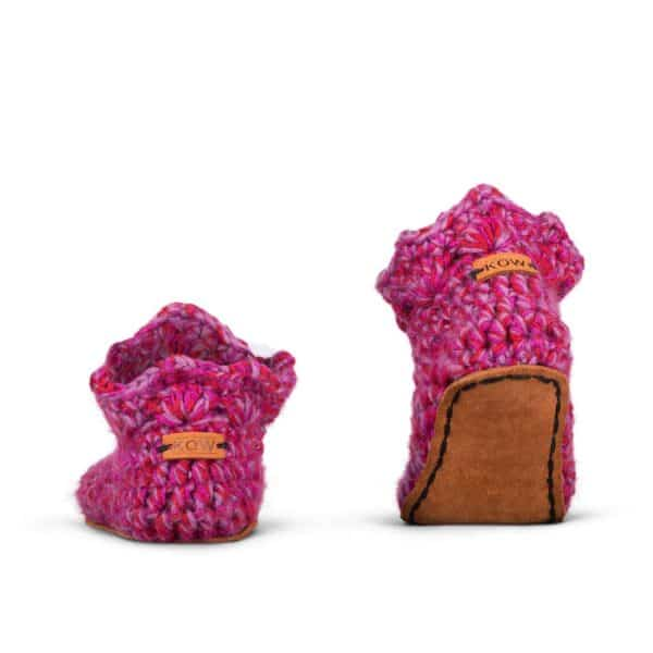 Yasmin Pink Wool Slippers for Kids